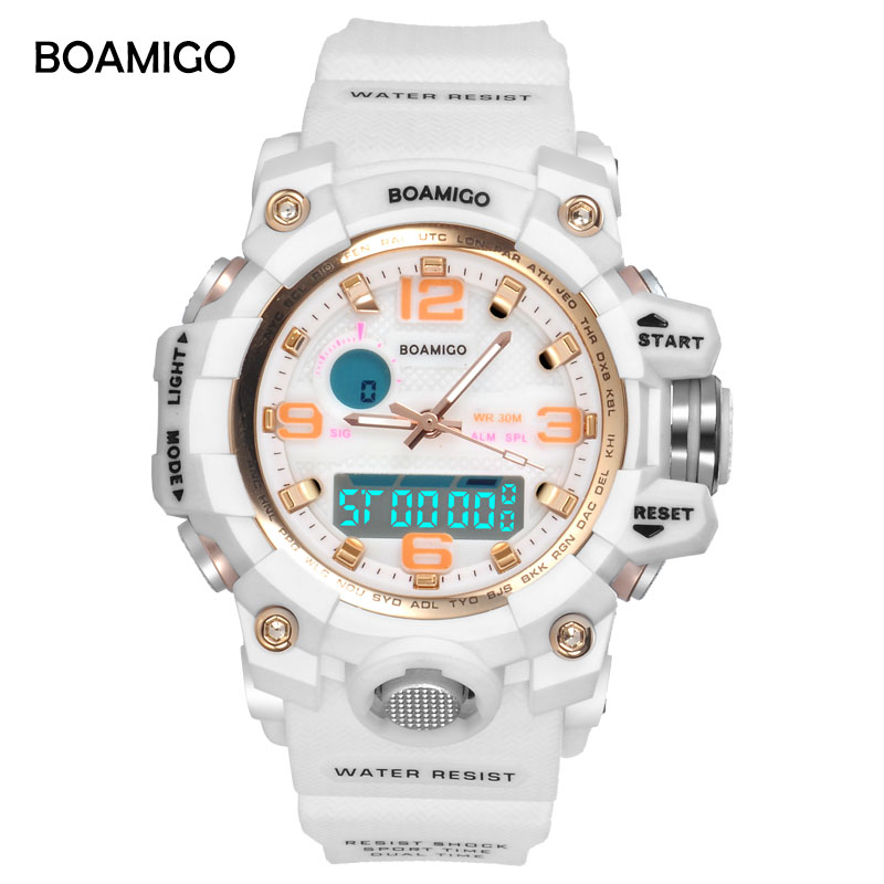 military watches dual amigo quartz men white rubber watch wristwatches display sport digital item gift boamigo